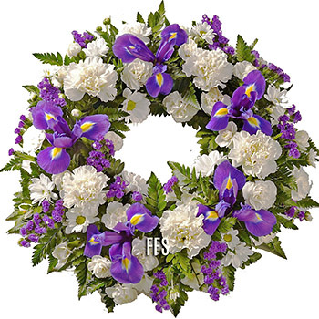 Blue and White Floral Wreath