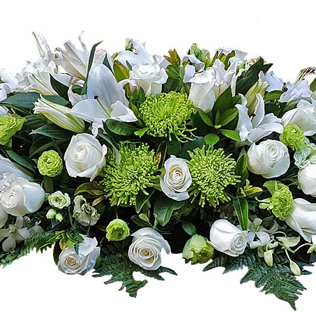 White & Lime Casket of Flowers