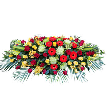 Casket Flowers in Red Yellow and Green