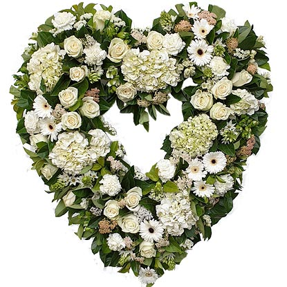 Seasonal Heart Wreath in White