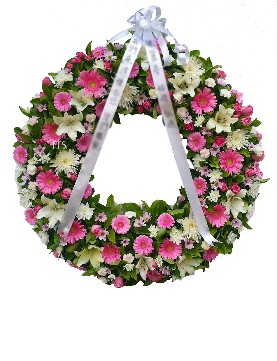 Pink Wreath For A Lady The Funeral Flower Shop