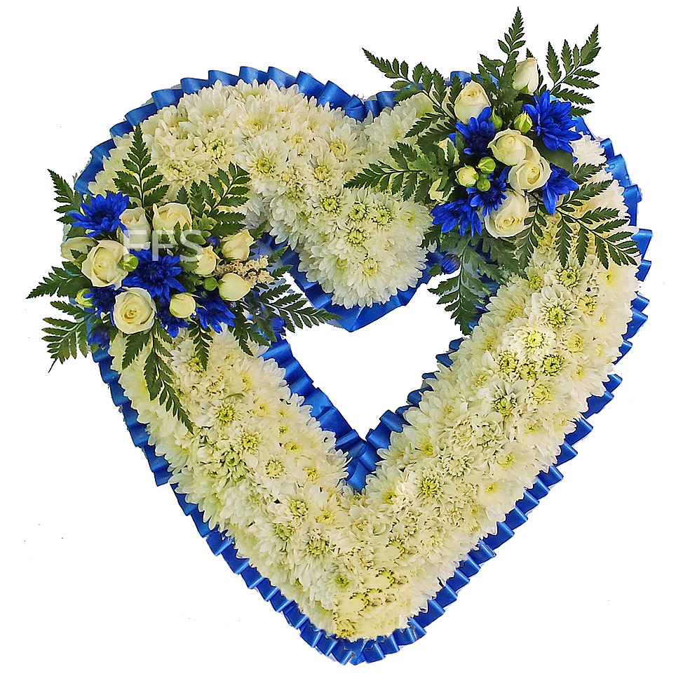 Floral heart in blue white the funeral flower shop floral heart in blue white izmirmasajfo