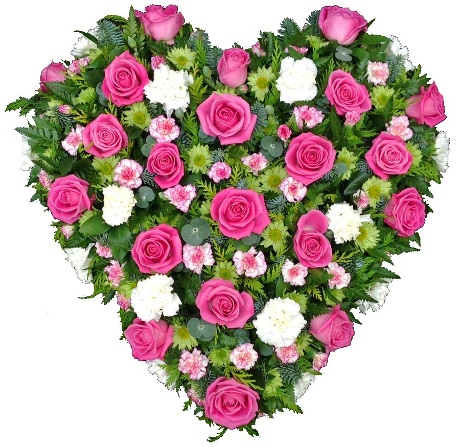 Sympathy Heart In Pink Roses The Funeral Flower Shop
