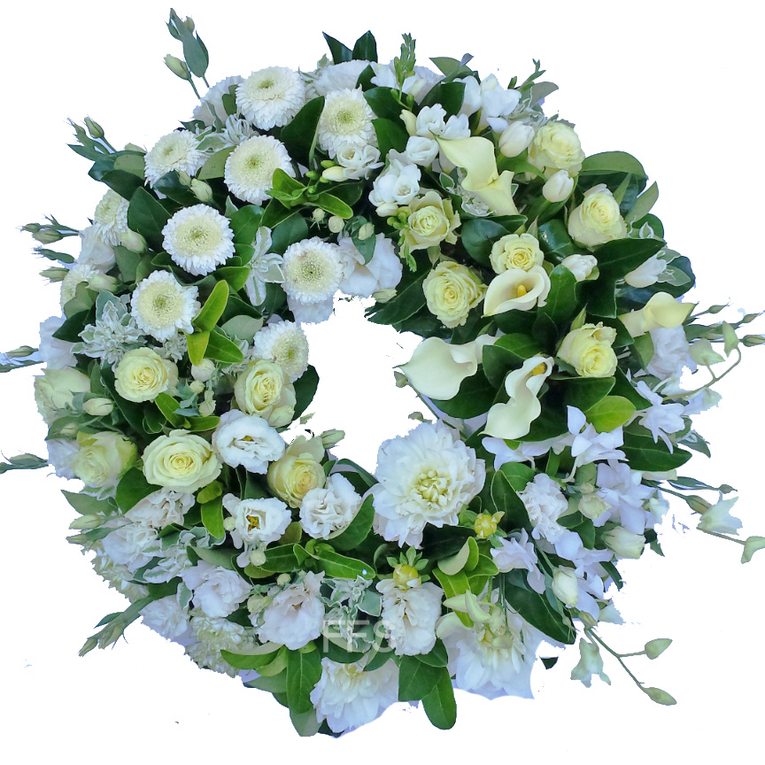 White Roses Tribute Wreath - Click Image to Close