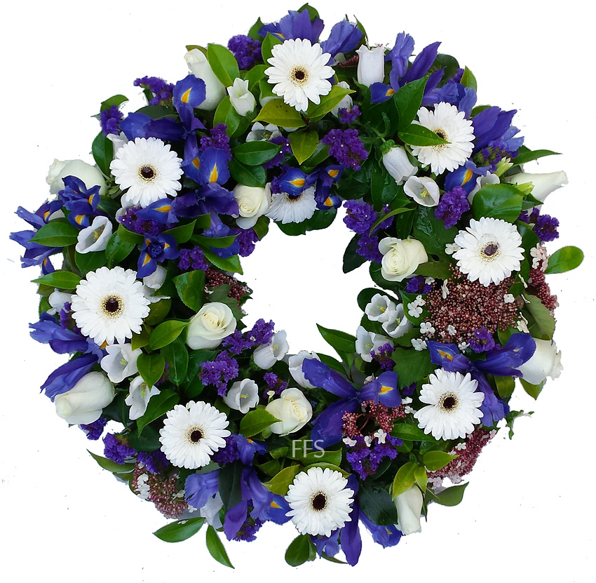 Sympathy White and Blue Wreath