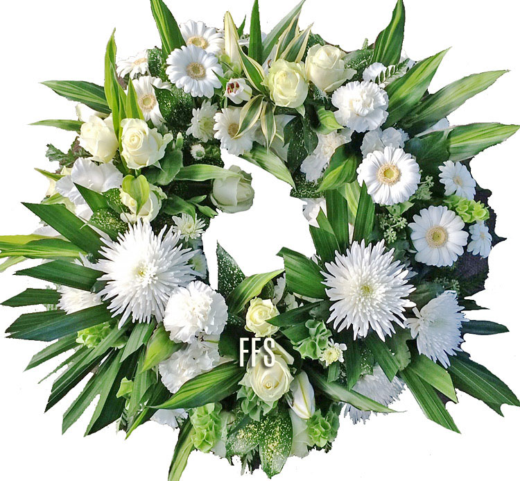 White Modern Floral Wreath
