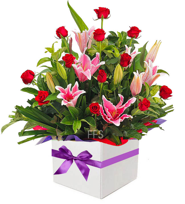 Red Roses and Oriental Lilies Arrangement