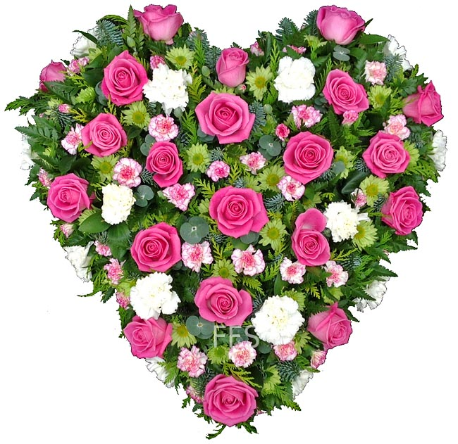 Sympathy Heart in Pink Roses