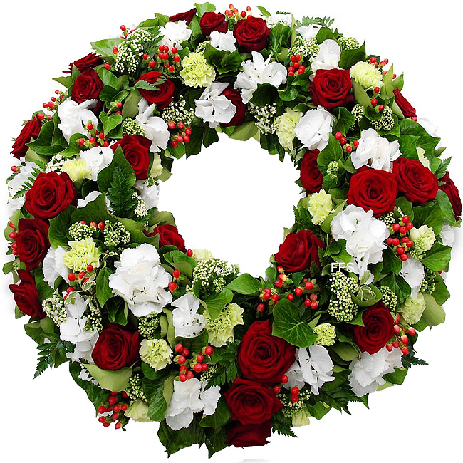 White and Red Floral Wreath