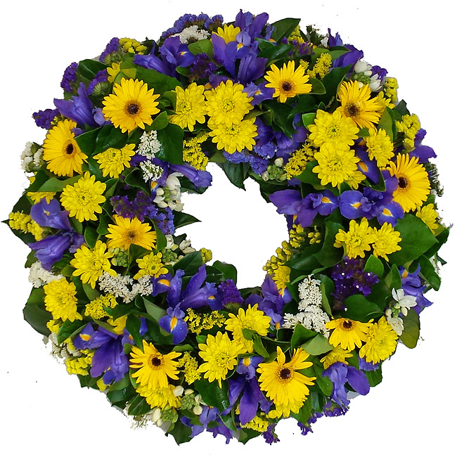 Bright Yellow and Blue Wreath