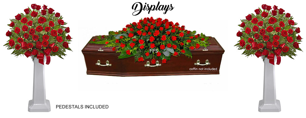 Red Roses Funeral Display