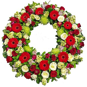 Bright Red Tribute Wreath