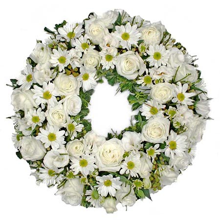 White Roses Tribute Wreath